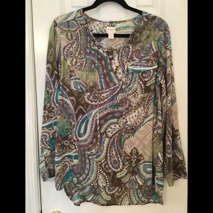 🌿Chico's gray paisley tunic with tie Size 1 M